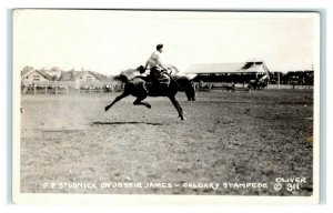 Postcard FE Studnick on Jessie James Calgary Canada Stampede horse RPPC A49