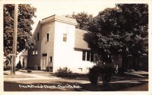 Charlotte Michigan~Railroad Street~Free Methodist Church~Postcard RPPC 1943