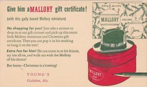 Advertising Mallory Hats Young's Gadsden Alabama
