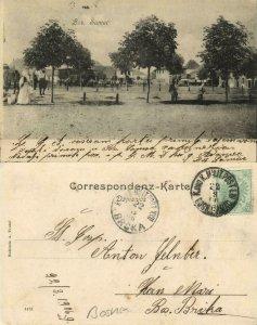 bosnia and herzegovina, BOSANSKI ŠAMAC Шамац, Market Place (1906) Postcard