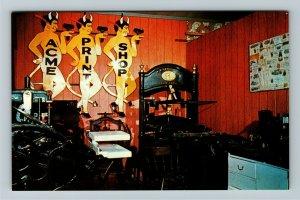 Minden NE- Nebraska, Print Shop, Pioneer Village, Chrome Postcard