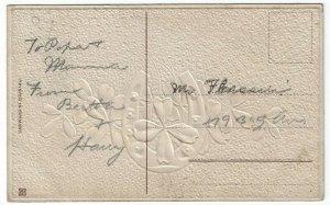 Vintage Greetings Postcard, Congratulations, Gold Horseshoe, Four Leaf Clover