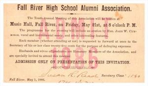 Massachusetts Fall River High School Alumni 10yr. Annual meeting   May 21,  1886