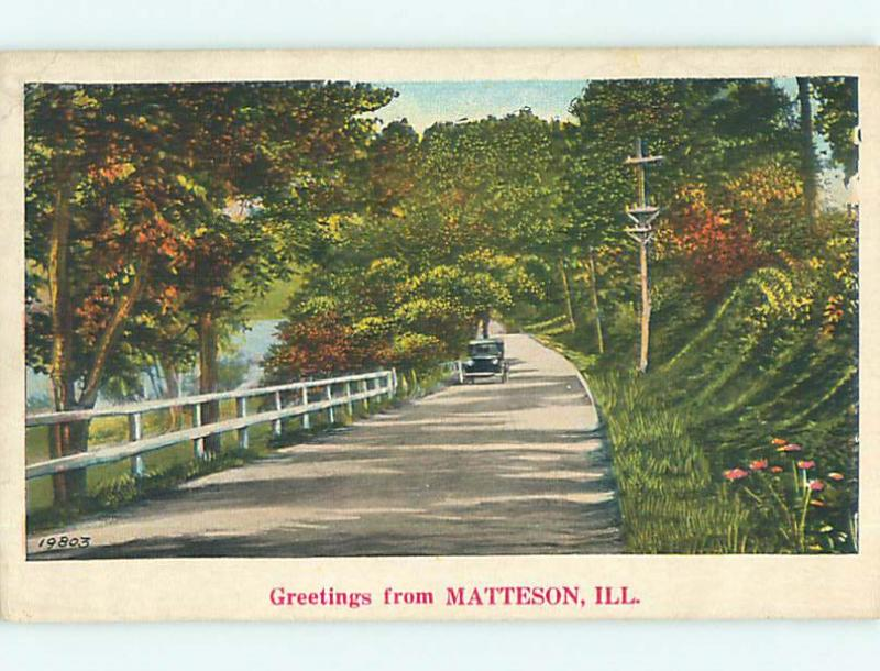 Unused W-Border OLD CARS & ROAD ALONG THE WATER Matteson Illinois IL t7052