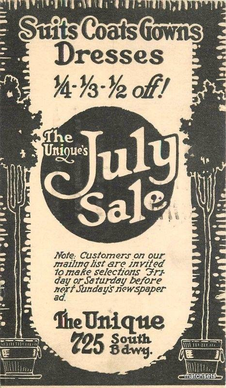 1918 Los Angeles California Unique store clothing advertising postcard 1759