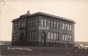 C88/ Walt Hill Nebraska Ne Real Photo RPPC Postcard c910 High School Building
