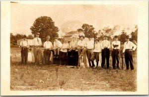 Vintage 1910s Real Photo RPPC Postcard Large Group of Hunting Men w/ Rifles