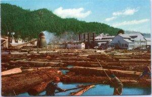 Lumber Mill, Redwood Empire California postcard