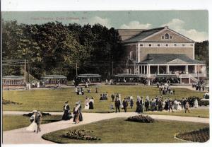 1909 CAPE COTTAGE Maine Me Postcard TROLLEYS Cape Theatre Crowd