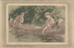 Canoe Romance Couple So your're goining Home To-morrow , 1917