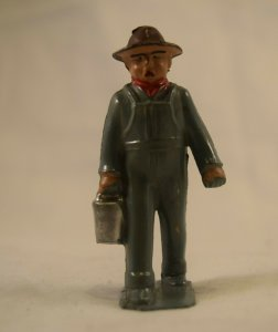 AE-137 Toy Farmer Man, Cast Metal Gray Color, 2.75x1.0=inches Vintage