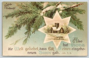 German Christmas~8 Point Star on Pine Tree Branch~Bible Verse John 3:16~1908 PC