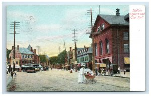 1910 Malden MA Square and City Hall Postcard Woman Pushing Baby Carriage Trolley
