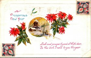 A Prosperous New Year - Winter Scene Windmill - Santa Stamp - POSTCARD PC
