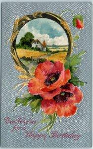 Vintage HAPPY BIRTHDAY Postcard Orange Poppy Flowers / Country Scene c1910s