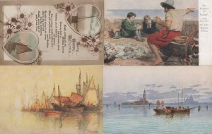 The Boyhood Of Rayleigh & 3x WW1 Ship Painting 4 Postcard s