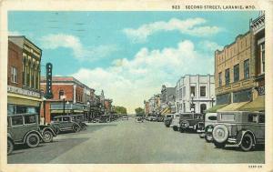 Autos Second Street Laramie Wyoming Sanborn 1936 Postcard 3329