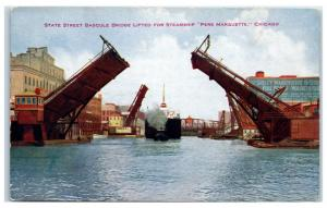 Early 1900s State Street Bridge Lifted for Pere Marquette, Chicago, IL Postcard