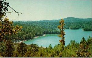 Lake Lago and Mountain Scene Quichita Mts Hot Springs Village AR Postcard C62