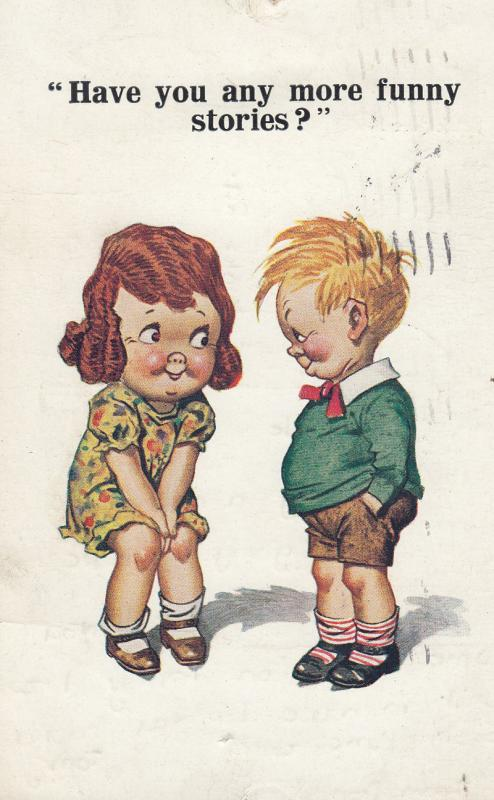 Funny Story Children Giggling Antique Comic Postcard