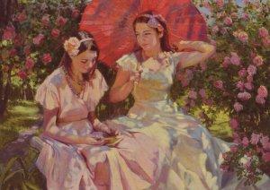 TWO LITTLE GIRLS Young Read BOOK Garden Sun Umbrella Flower Modern postcard