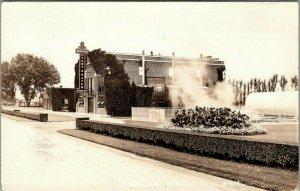 Harlan Iowa~Light & Water Plant~Fountain Spray~Perfect Hedges~1941 RPPC