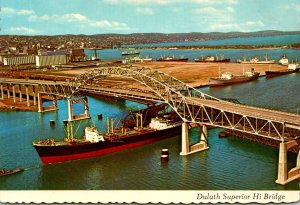 Minnesota Duluth Superior Hi Bridge With Foreign Freighter Entering Duluth-Su...