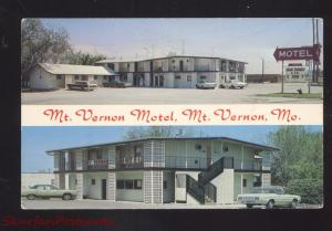 MT. VERNON MISSOURI ROUTE 66 MOTEL OLD CARS ADVERTISING VINTAGE POSTCARD MO.