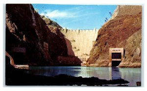 Postcard Downstream Face of Hoover Dam seen from River Level NV M29
