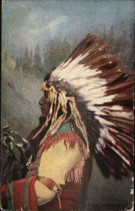 Native American Indian YELLOW THUNDER c1910 TUCK Indian Chiefs Postcard