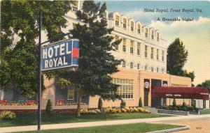 Linen Roadside Postcard; Hotel Royal, Front Royal VA Warren County, Unposted