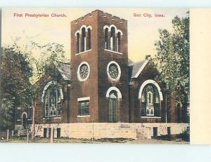 Unused Divided Back CHURCH SCENE Sac City Iowa IA hs7445