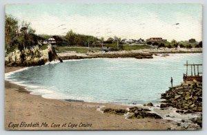 Cape Elizabeth Maine~Cape Casino Cove~Fella on Stacked Rock Promontory~1908 PC