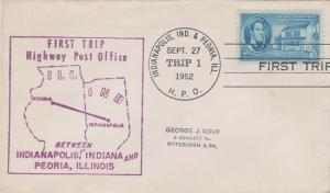 FIRST TRIP HIGHWAY POST OFFICE between Indianapolis, IN & Peoria, IL, 1952
