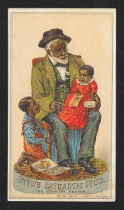 VICTORIAN TRADE CARD Ayer's Cathartic Pills Blacks