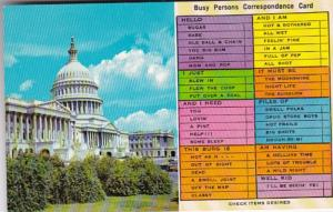 Humour Bust Persons Correspondence Card United States Capitol Washington D C
