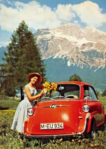 BMW 60YOUNG WOMAN- BMW 600 AUTOMOBILE POSTCARD GREATER THAN OUTDOORS~NOT REPRINT