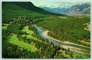 Banff Alberta~Banff Springs Hotel~Golf Course Birdseye Along Bow River~1960s PC