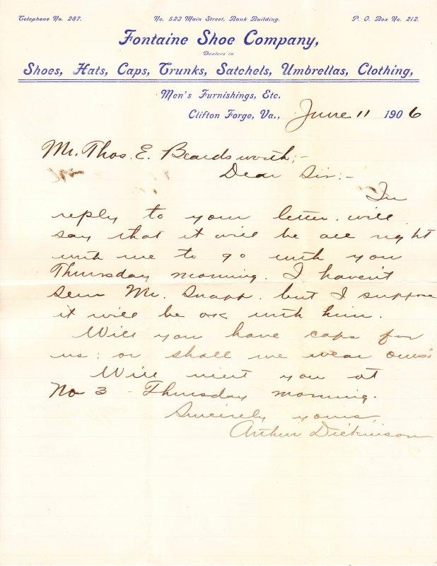 Fontaine Shoe Co – Clifton Forge VA – letterhead / letter - 1906