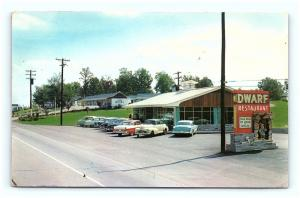 Postcard TN Knoxville Dwarf Restaurant 1950's Cars French Broad Ice Cream H05