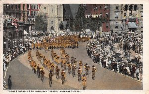 Troops Parading On Monument Place, Indianapolis, Indiana, Postcard, Used in 1919