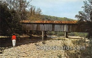 Covered Bridge Vintage Postcard Creek Bed Brown County, Ohio, USA unused
