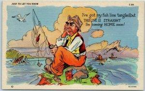 Vintage Curteich Linen Postcard Just to Let You Know… Fishing LINE COMICS C-69