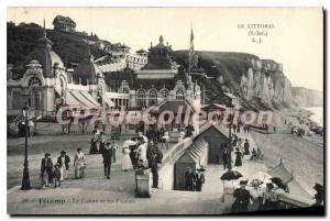 Old Postcard The Shoreline S Inf Fecamp the casino and the Cliffs