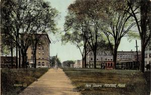 Pittsfield Massachusetts~Park Square~Soldiers Monument~Trolleys Lined Up~1910 PC
