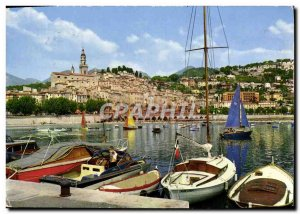 Postcard Moderne Menton General view of the city and its marina