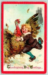 Frances Brundage Thanksgiving~Disheveled Pilgrim Boy Chases~Tackles Turkey~1911