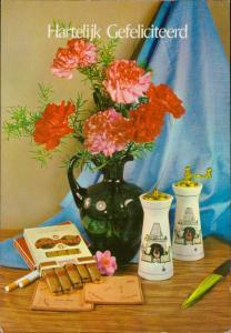 cigars cigarettes carnation flower vase  Hartelijk Gefeliciteerd congratulations
