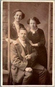 Vintage RPPC Real Photo Postcard Family Studio Portrait - Europe c1910s Unused