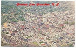 Aerial View Of Greensboro, Showing Downtown Business Area, Greensboro, North ...